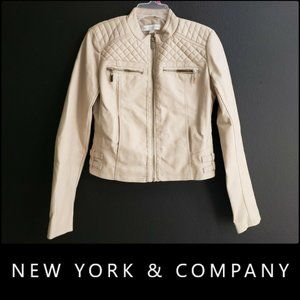 New York & Company Quilted Faux Leather Jacket XS